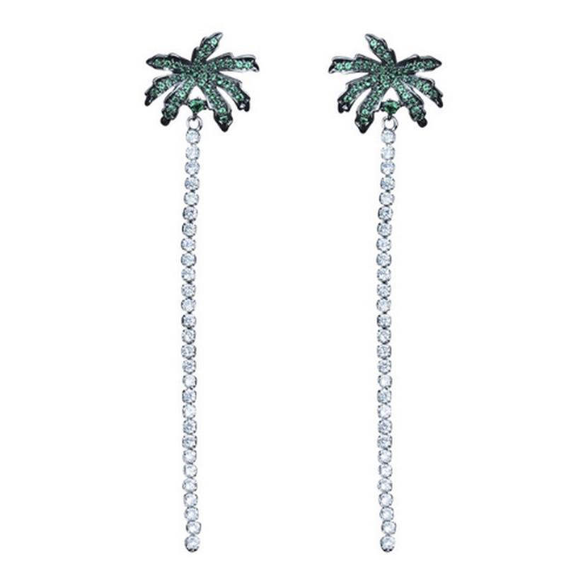 Boucles D\'oreilles Longues Pendantes Strass Tropicales Palmier
