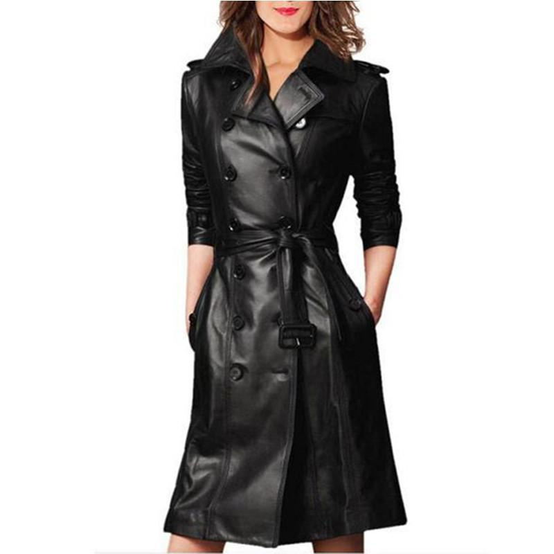 Trench Coat Simili Cuir à double boutonnage Noir JENNA