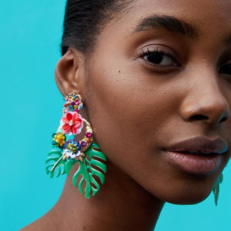 Boucles d\'oreilles Fantaisie Tropicales Colorées ANTARA