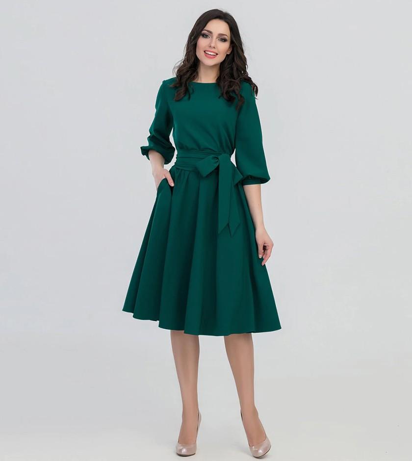 Robe Verte Mi Longue Esprit Rétro MANY
