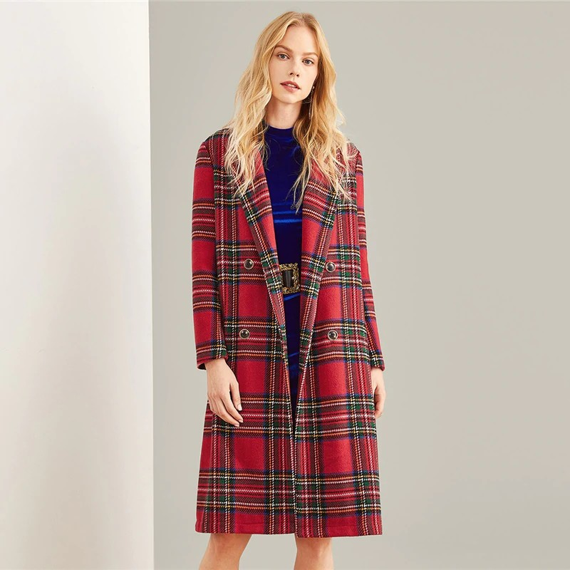 Manteau de Printemps Preppy Rouge Tartan