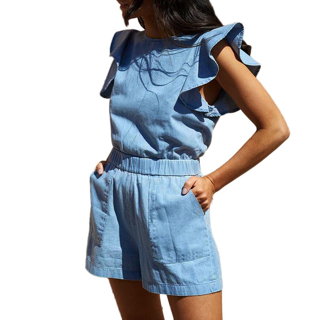 Combishort à volants et poches en Denim Bleu MISIS
