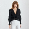 Deuxtwinstyle-col-en-V-Sexy-femmes-Blouse-lanterne-manches-Perspective-vider-volants-mince-solide-chemise-femme