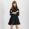 Deuxtwinstyle-perles-Patchwork-femmes-robe-hors-paule-Stand-Flare-manches-taille-haute-Mini-robes-femme-mode