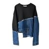 EAM-Loose-Fit-Denim-Burr-Split-Asymmetrical-Sweatshirt-New-Round-Neck-Long-Sleeve-Women-Big
