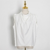 TWOTWINSTYLE-T-shirt-col-roul-pour-femme-mod-le-sans-manches-fronc-couple-ample-minimaliste-v