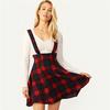 SHEIN-Women-Multicolor-High-Waist-Button-Front-Tartan-Mini-Skirt-With-Thick-Strap-Spring-Autumn-Preppy