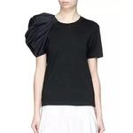 Deuxtwinstyle-femmes-T-shirts-bouff-e-manches-courtes-O-cou-Patchwork-hauts-asym-triques-femme-d