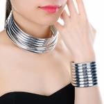 Mode-Femmes-De-Mode-Ensemble-de-Bijoux-Or-et-Argent-Couleur-R-sine-Choker-Collier-Bracelet