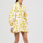 TWOTWINSTYLE-Summer-Print-Embroidery-Women-Dress-V-Neck-Lantern-Sleeve-High-Waist-Lace-Up-Mini-Dresses