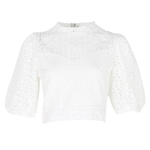 TWOTWINSTYLE-Vintage-Hollow-Out-Women-Blouse-Stand-Half-Sleeve-Solid-Loose-Shirt-Female-Summer-2019-Fashion