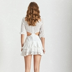 Deuxtwinstyle-t-Sexy-solide-vider-femmes-robe-O-cou-demi-manches-bouffantes-taille-haute-Mini-robes