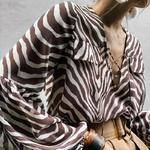 TWOTWINSTYLE-Casual-Striped-Women-Blouse-V-Neck-Lantern-Sleeve-Bandage-Oversize-Shirt-Female-Summer-2019-Fashion