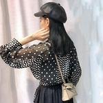 TWOTWINSTYLE-Vintage-Polka-Dot-Patchwork-Women-Blouse-Lapel-Lantern-Sleeve-Slim-Shirt-Female-Fahison-Spring-2019