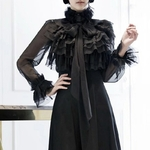 TWOTWINSTYLE-Perspective-Tops-Female-Bowknot-Flare-Long-Sleeve-Ruffle-Shirt-Blouse-Women-Korean-Fashion-Clothes-2019