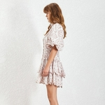 TWOTWINSTYLE-Casual-Print-Dress-Women-Lapel-Puff-Sleeve-High-Waist-Hollow-Out-Pleated-Hem-Dresses-Female