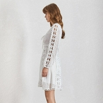 TWOTWINSTYLE-Elegant-Hollow-Out-Dresses-For-Women-V-Neck-Lace-Up-Long-Sleeve-High-Waist-Mini