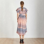 TWOTWINSTYLE-Casual-Hit-Color-Women-Dress-V-Neck-Puff-Sleeve-High-Waist-Lace-Up-Plaid-Long