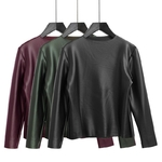 TWOTWINSTYLE-PU-Glossy-Vlevet-Long-Sleeve-T-Shirts-For-Women-Basic-Thick-Warm-Elastic-Tops-Female
