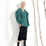 EAM-2019-New-Spring-Summer-V-collar-Long-Batwing-Sleeve-Fold-Split-Joint-Green-Loose