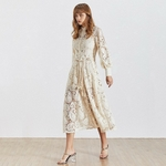 TWOTWINSTYLE-Elegant-Hollow-Out-Women-Dress-Stand-Lantern-Sleeve-High-Waist-Bandage-With-Vest-Midi-Dresses