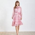 TWOTWINSTYLE-Vintage-Polka-Dot-Ruffles-Women-Dress-O-Neck-Long-Sleeeve-Bandages-Perspective-Midi-Dresses-Female