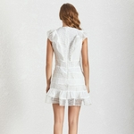 TWOTWINSTYLE-Summer-Hollow-Solid-Out-Sleeveless-Women-Dress-O-Neck-High-Waist-Silm-Ruffles-Mini-Dresses