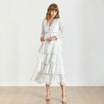 TWOTWINSTYLE-Summer-V-Neck-Long-Sleeve-Hollow-Out-Midi-Women-s-Dress-Ruffle-High-Waist-A