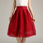 2017-Large-Size-Summer-Style-Vintage-Skirt-Solid-Reds-Women-Skirts-Casual-Hollow-out-fluffy-Pleated
