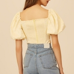 TWOTWINSTYLE-Spring-Casual-Women-Blouse-Square-Collar-Puff-Sleeve-Hollow-Out-Solid-Slim-Short-Shirt-Female