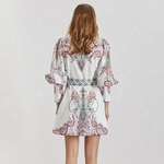 TWOTWINSTYLE-Vintage-Print-Women-Dress-Lapel-Lantern-Sleeve-High-Waist-With-Sashes-Button-Mini-Dresses-Female