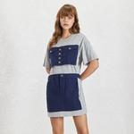 TWOTWINSTYLE-Summer-Denim-Patchwork-Women-Dress-O-Neck-Short-Sleeve-High-Waist-Hit-Color-Button-Mini