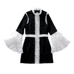 TWOTWINSTYLE-Patchwork-Dress-Female-Tunic-Ruffles-Flare-Sleeve-High-Waist-Mini-Party-Dresses-Stand-Collar-Autumn