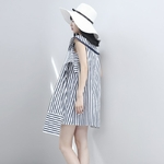 EAM-2019-New-Summmer-Temperament-Slash-Neck-Short-Sleeve-Blue-Striped-Loose-Bandage-Bow-Shirt