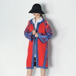 EAM-2019-New-Spring-Loose-O-neck-Flare-Sleeve-Contrast-Color-Open-Stitch-Mid-Long