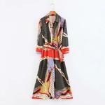 COZARII-2018-Fashion-vestidos-feminina-dress-england-style-print-splicing-sashes-bow-regular-straight-midi-dress