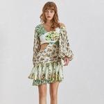 Deuxtwinstyle-imprimer-hors-paule-femmes-robe-lanterne-manches-taille-haute-vider-Mini-robes-femme-d-t
