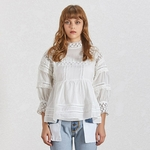 TWOTWINSTYLE-Summer-Hollow-Out-White-Shirt-For-Women-Stand-Collar-Lantern-Sleeve-Loose-Blouse-Female-Fashion