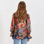 TWOTWINSTYLE-Casual-Print-Women-Blouse-Bowknot-Collar-Flare-Sleeve-Hit-Color-Loose-Shirt-Female-Summer-2019