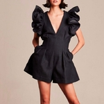 TWOTWINSTYLE-Black-Jumpsuits-For-Women-V-Neck-Ruffle-Sleeve-High-Waist-Short-Pants-Female-2019-Spring