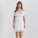 TWOTWINSTYLE-Summer-Hollow-Out-Women-s-Dress-O-Neck-Short-Sleeve-Tassel-High-Waist-Slim-2019