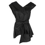 TWOTWINSTYLE-Sans-Manches-Ceintures-Tunique-de-Femmes-Blouses-Chemises-D-t-2017-V-Col-Noir-Kaki