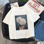 Nuovo-Harajuku-Estetica-Maglietta-Sexy-Fiori-Della-Piuma-Della-Stampa-Del-Manicotto-Del-Bicchierino-di-Magliette