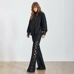 TWOTWINSTYLE-Hollow-Out-Patchwork-Women-Suit-Lantern-Sleeve-Perspective-Shirt-High-Waist-Wide-Leg-Pants-Two