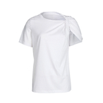 TWOTWINSTYLE-Ruched-Basic-T-Shirt-For-Women-Short-Sleeve-Big-Size-Irregular-White-T-Shirts-Top