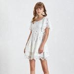 Deuxtwinstyle-t-solide-d-contract-une-ligne-femmes-robe-col-carr-manches-courtes-vider-volants-robes