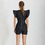 Deuxtwinstyle-noir-combinaisons-pour-femmes-col-en-V-volants-manches-taille-haute-pantalons-courts-femme-2019