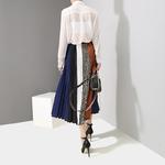Nouveau-2019-Style-cor-en-femmes-ligne-a-multicolore-longue-jupe-pliss-e-taille-lastique-ray