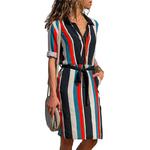 New-Autumn-Summer-Dress-Women-Striped-Print-Lace-Up-Beach-Dress-Party-Dress-With-Button-Knee