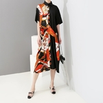 2019-Women-Summer-Multicolor-Part-Printed-Patchwork-Shirt-Dress-Short-Sleeve-Female-Casual-Plus-Size-Party